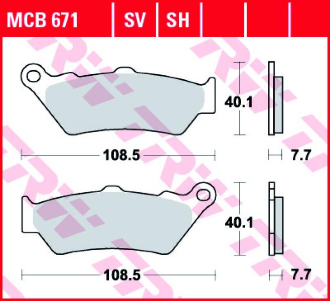 TRW sintered Street brake pads MCB671