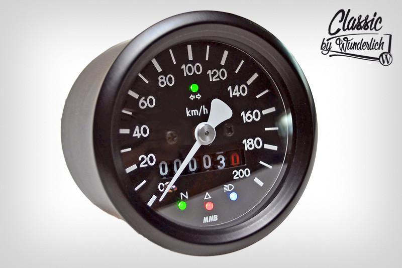 Mechanical speedometer Ø60mm including indicator light