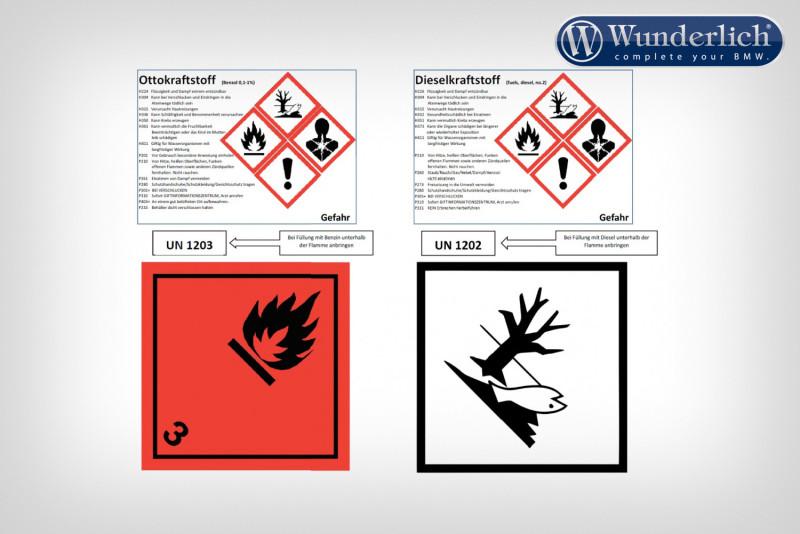 Etichetta adesiva per cartuccia del carburante